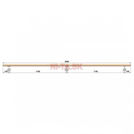 Drevené madlo BUK (BEECH) D42xL2500mm NI-TA